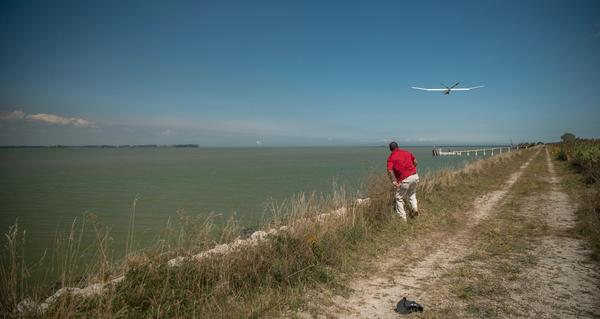 The drone flies over Maumee Bay