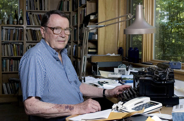 Poet Richard Wilbur, shown at his home in Cummington, Mass., in 2006, died on Saturday at the age of 96. Wilbur, a Pulitzer Prize-winning poet and translator, intrigued and delighted generations of readers and theatergoers through his rhyming editions of Moliere and his own verse on memory, writing and nature.