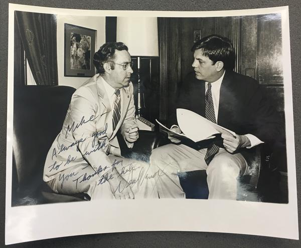 "Rep. Mike Synar, D-Okla., meets with Neal Knox, executive director of the NRA's lobbying arm, in 1981 in this photo <a href=""https://arc.ou.edu/repositories/3/archival_objects/507560"">archived at the Carl Albert Center Congressional and Political Collections</a> at the University of Oklahoma."