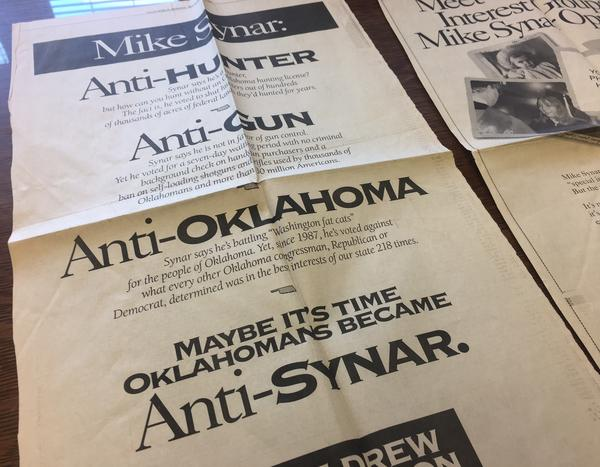 An NRA ad blasts Synar and endorses his Democratic congressional opponent, Drew Edmondson, in a 1992 edition of <em>Tulsa World, </em>archived at the University of Oklahoma's Carl Albert Center Congressional and Political Collections.