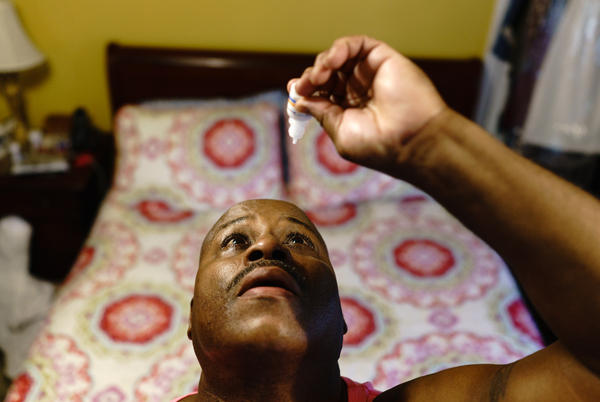 Gregory Matthews has glaucoma and uses prescription eyedrops. The dropper's opening creates a bigger drop than he needs, causing him to run out of his medication before the prescription is ready to refill.