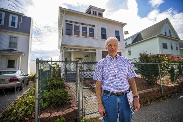 Collector Frank Morrill standing outside of photographer William Bullard's house, on what is now Mayfield in Worcester. (Jesse Costa/WBUR)