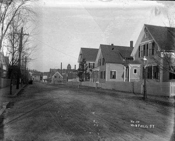 William Bullard's photograph of the wooden houses lining Winfield Street in Worcester before they were eventually torn down. (Courtesy Frank Morrill)