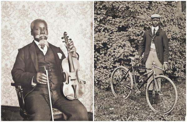 """William Bullard's portraits of David T. Oswell with a viola and Isaac """"Ike"""" Perkins with his bicycle. (Courtesy Frank Morrill)"""