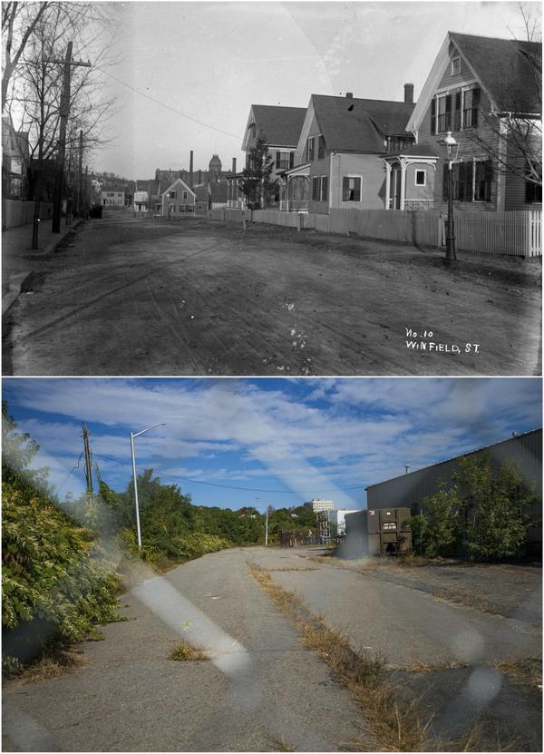 On the top, William Bullard's turn-of-the-century photograph of the wooden houses lining Winfield Street. On the bottom, Winfield Street today. (Courtesy Frank Morrill and Jesse Costa/WBUR)