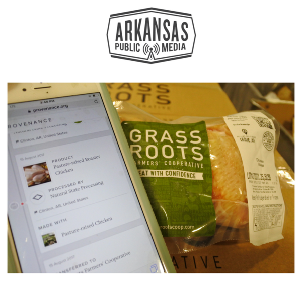 An iPhone called up a blockchain of information about this package of chicken from Grass Roots Farmers' Cooperative, which is placing QR codes on its packages because it believes its products' origin is of primary importance to its customers.