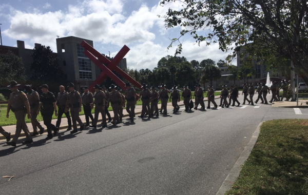 Florida Highway Patrol officers were stationed around the UF's Philips Center on Wednesday.