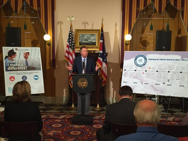 Gov. John Kasich rolls out official prescription drug rules for acute pain at the Ohio Statehouse.
