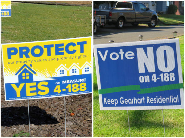 Gearhart, Oregon, is the first Pacific Northwest city where regulation of vacation rentals is going to a vote of the people. Yard signs for and against the referendum proliferate across the small beach town.