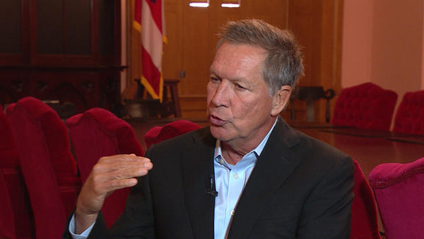 "Gov. John Kasich talked with Karen Kasler in his Cabinet Room for ""The State of Ohio"" on October 19, 2017."