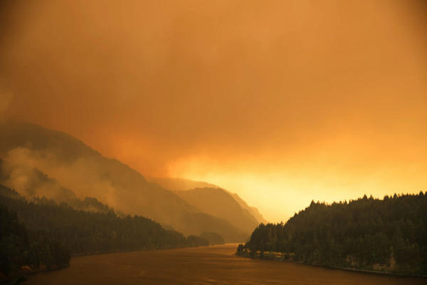 <p>Smoke from the Eagle Creek Fire hovers over the Columbia River Gorge, Sept. 4, 2017.</p>