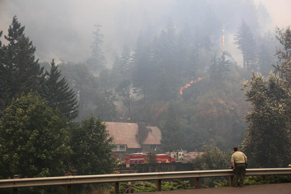 <p>An officer looks on as fire crews work to keep the Eagle Creek Fire away from the Multnomah Falls Lodge Tuesday, Sept. 5, 2017. </p>