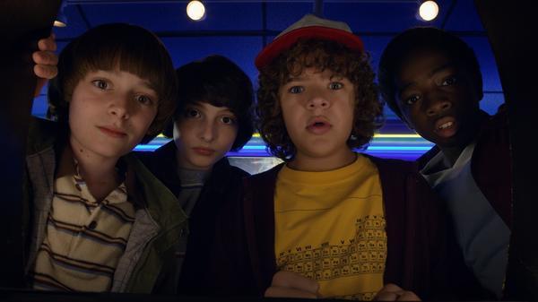 Noah Schnapp, Finn Wolfhard, Gaten Matarazzo, and Caleb Mclaughlin in <em>Stranger Things 2</em>.