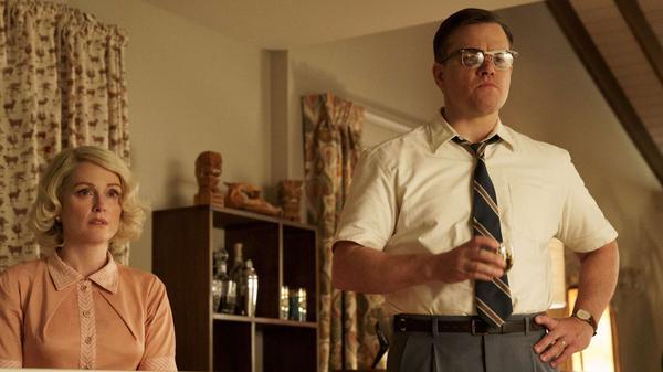 Wreck Room: Margaret (Julianne Moore) and Gardner (Matt Damon) experience an Eisenhower-era home invasion in <em>Suburbicon.</em>