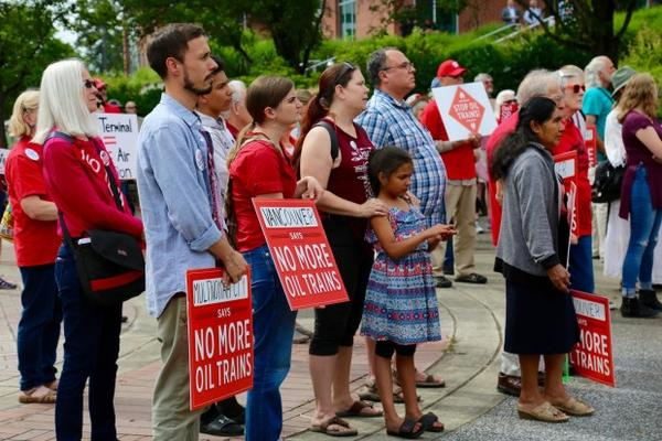 <p>The proposed oil terminal has created divisions in the community.Protesters against the Vancouver Energy project showed up at a hearing earlier this year.</p>
