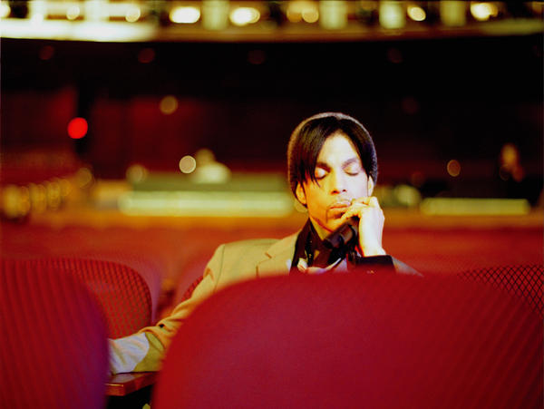 Prince relaxes after a sound check at the Kodak Theatre in Hollywood.