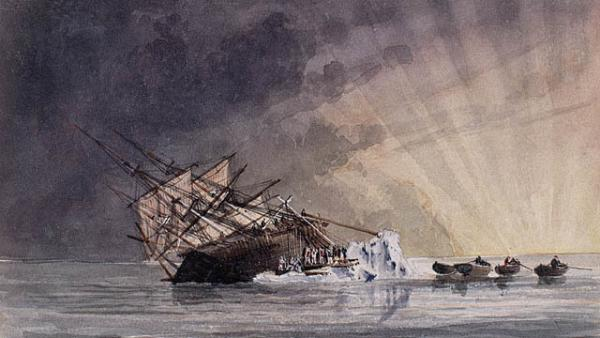 A sketch illustrating the HMS Terror at sunrise.