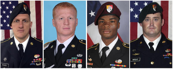 These images provided by the U.S. Army show Staff Sgt. Bryan C. Black (from left), 35, of Puyallup, Wash.; Staff Sgt. Jeremiah W. Johnson, 39, of Springboro, Ohio; Sgt. La David Johnson of Miami Gardens, Fla.; and Staff Sgt. Dustin M. Wright, 29, of Lyons, Ga.