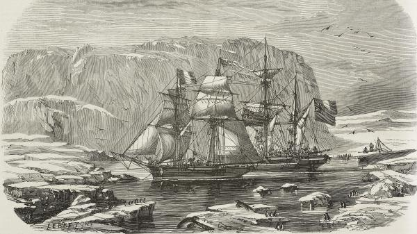 The HMS Erebus and HMS Terror in the bay where John Franklin's expedition spent the winter of 1845-1846, as illustrated by Le Breton in 1853.