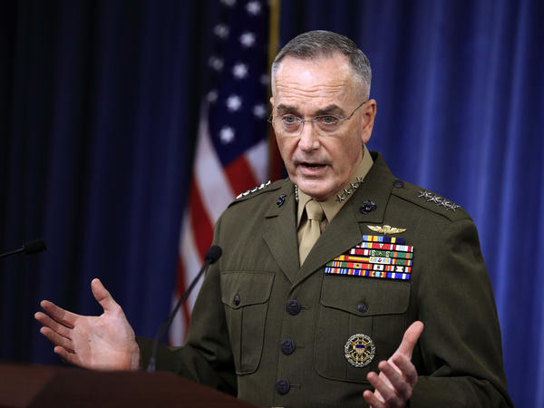 Gen. Joseph Dunford, chairman of the Joint Chiefs of Staff, speaks to reporters about the Niger operation during a briefing at the Pentagon on Monday.