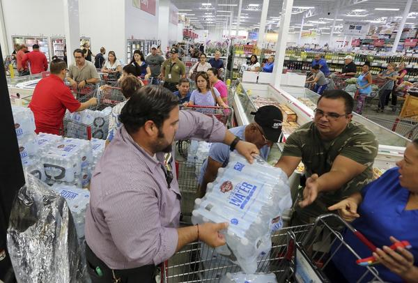 Shoppers at a BJ's in Miami stock up on supplies before Hurricane Irma.