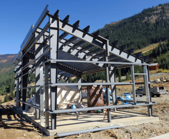 <p>A pump house that will serve the snowmaking system is under construction at the base of the Quicksilver Chairlift at Crystal Mountain.</p>
