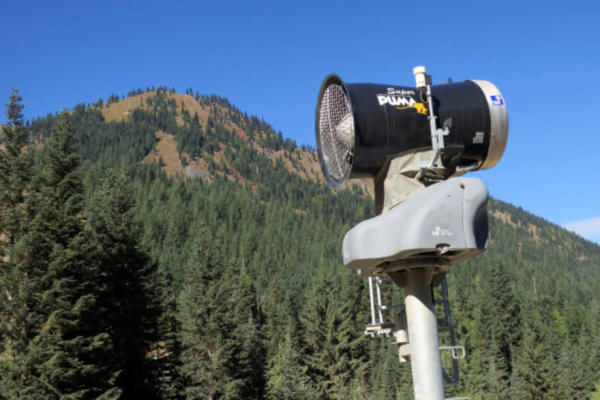 <p>A new snow gun stands ready for action. Crystal Mountain may one day extend its new snowmaking system to the top of its mountain.</p>