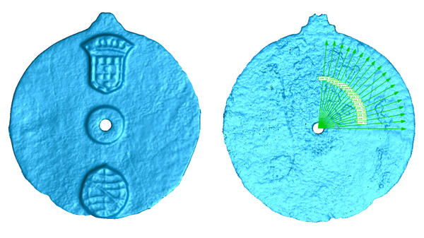 A scans of the astrolabe reveal not only the emblems on its face (left) but also the degree markings (right) that would have aided sailors in navigation.