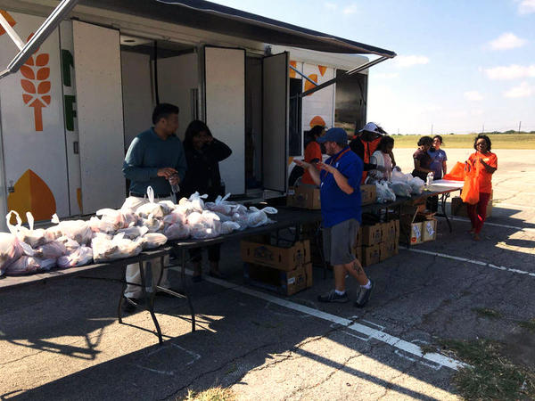 College students took advantage of the North Texas Food Bank's mobile pantry during its first-ever visit to a Dallas County Community College - Cedar Valley College.
