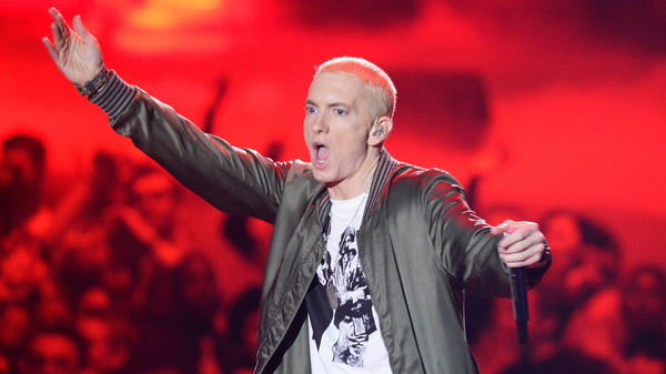 "Eminem onstage at the 2014 MTV Movie Awards. A version of the rapper's 2002 song ""Lose Yourself"" was used in a New Zealand ad campaign."