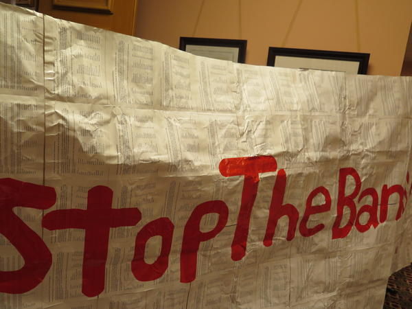 This banner was unfurled in Speaker Rosenberger's office and left for him.