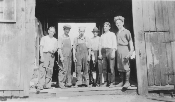 The Blackstone crew working on props at Blackstone Island in Colon, Mich. Blackstone is furthest to the right. Pete Bouton, his brother and chief carpenter, is second from the left.