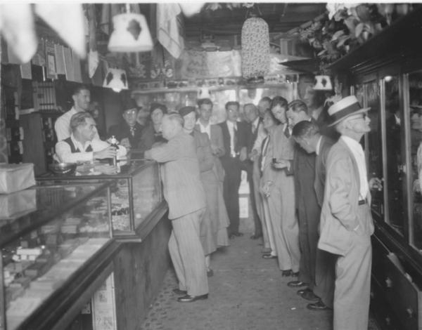 Interior of Abbott's Magic in Colon, Mich., 1936.