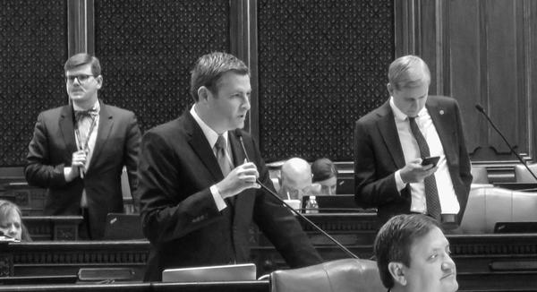 Rep. Peter Breen, the Republican floor leader, speaks during debate Wednesday in the Illinois House of Representatives.