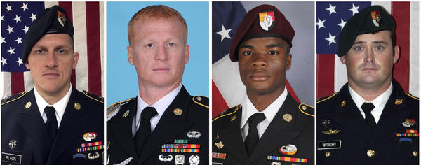 Images provided by the U.S. Army of soldiers killed in Niger show, from left, Staff Sgt. Bryan C. Black, 35, of Puyallup, Wash.; Staff Sgt. Jeremiah W. Johnson, 39, of Springboro, Ohio; Sgt. La David Johnson of Miami Gardens, Fla.; and Staff Sgt. Dustin M. Wright, 29, of Lyons, Ga.