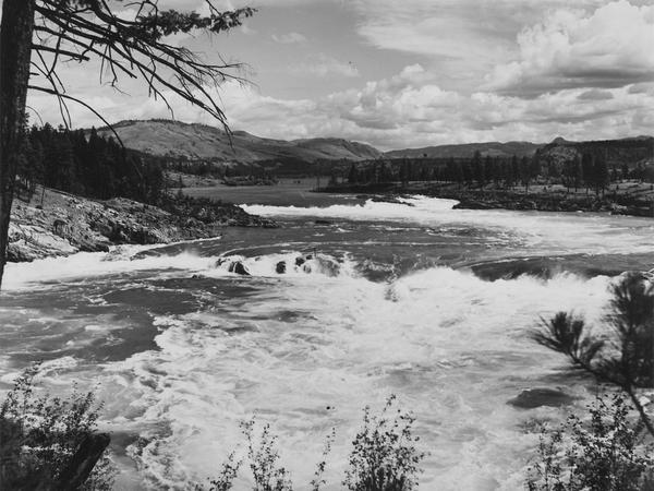 A view of Kettle Falls of the Columbia River prior to the construction of Grand Coulee Dam.