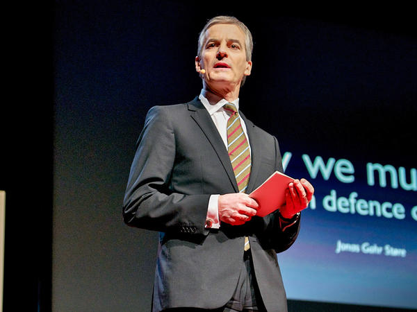 Jonas Gahr Støre on the TED stage
