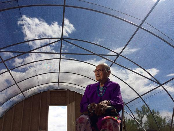 Betty Kelly is in her 90s and works on the North Leupp Family Farm most days growing the food she eats all year long.