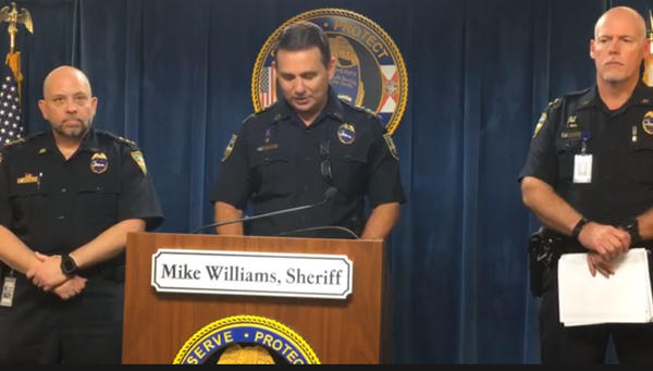 Jacksonville Sheriff Mike Williams (center) speaks at a Thursday afternoon news conference.
