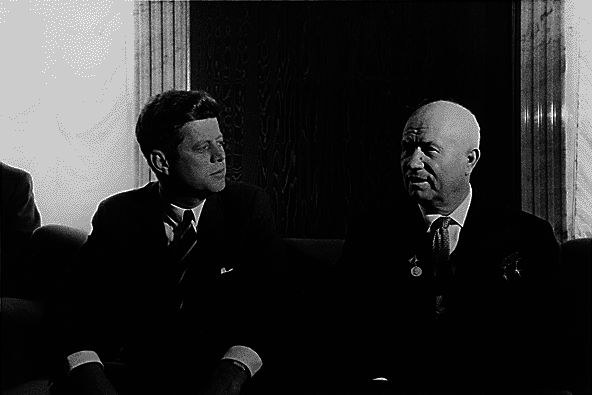 U.S. President John F. Kennedy meets Russian leader Nikita Khrushchev.