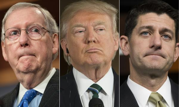 Senate Majority Leader Mitch McConnell, R-Ky., left, President Trump, center, and House Speaker Paul Ryan, R-Wis., will have their relationships tested by the a legislative push on a tax overhaul this week.
