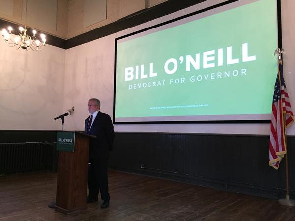 Ohio Supreme Court Justice Bill O'Neill made his announcement at the Chagrin Falls Township Hall.