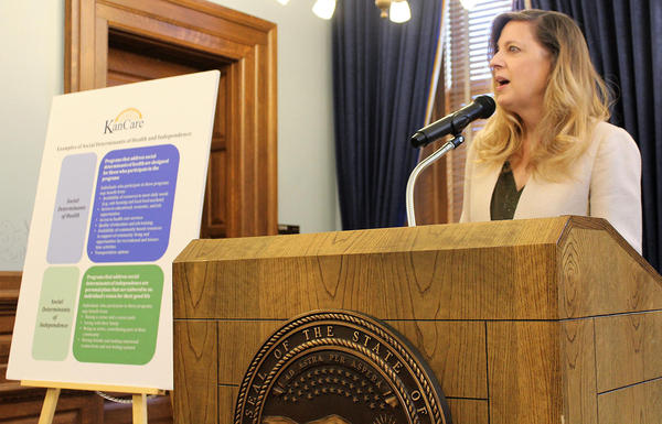 Susan Mosier, secretary of the Kansas Department of Health and Environment, unveiled the state's plan to renew KanCare on Friday at the Statehouse in Topeka.