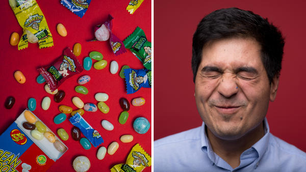 NPR intern Kevin Garcia endures the sour taste of Warheads hard candy. Why <strong></strong>are we tempted by candy that pretends to be made of hazardous chemicals, that threatens to nuke our taste buds, or that dares us to be disgusted?