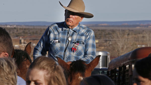 "Cliven Bundy rides a horse after attending the funeral of of fellow rancher Robert ""LaVoy"" Finicum in February."