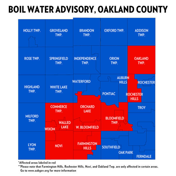 The Great Lakes Water Authority has issued a mandatory boil water advisory for parts of Oakland County.