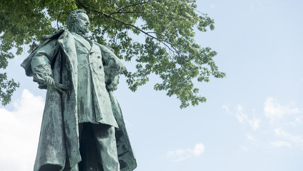 The Samuel Colt Memorial Statue, commissioned in 1905, overlooks the northwest corner of Colt Park in Hartford.