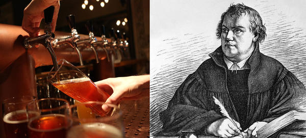 Left: A bartender at Hops & Barley brewpub draws a pint of beer in Berlin. Right: A portrait of Martin Luther. The protest that Luther launched 500 years ago revamped not only how Europe worshipped but also how it drank. He and his followers promoted hops in beer as an act of rebellion against the Catholic Church.