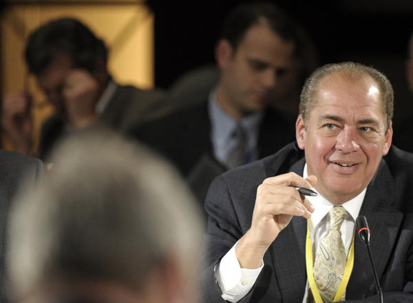 Acting West Virginia Gov. Earl Ray Tomblin, shown at the National Governors Association meeting in February, is running in a special election for the seat Tuesday. The conservative Democrat has been endorsed by several groups, from the NRA to the mineworkers' union.