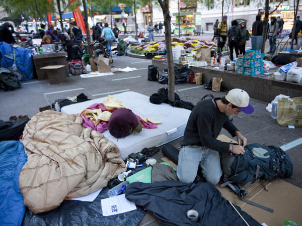 Occupy Wall Street protesters have been camped in Zuccotti Park for about two weeks, and an organizer says they are planning to improve infrastructure so they can stay there for months.